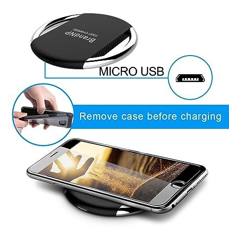 BrandNP QI - Cargador inalámbrico rápido para iPhone 8/8 Plus/X y Samsung Galaxy Note 8/, Note 5/S9, S8, S8 Plus, S7/S7edge/S6/S6 Edge, Nexus 4/5/6/7, LG y ...