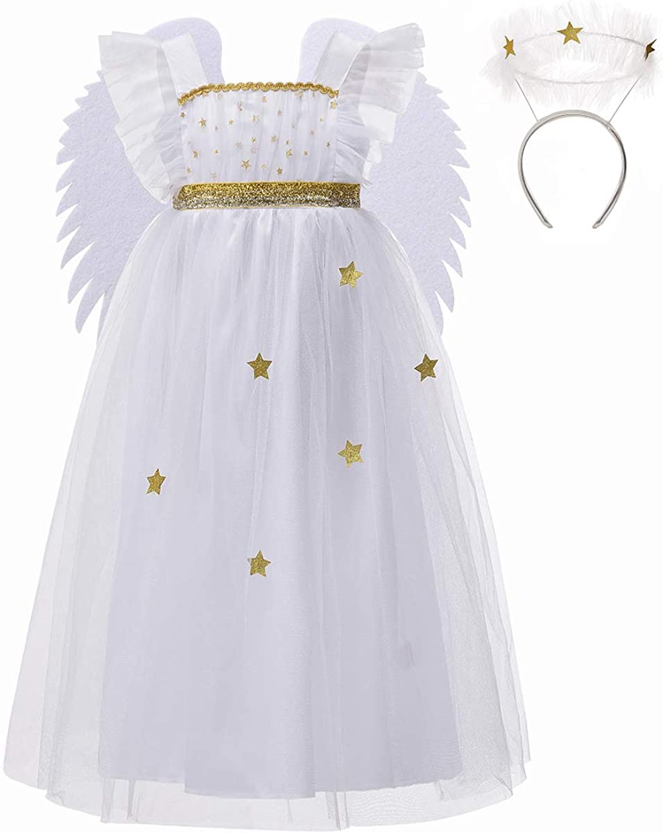 DJDLPARTY White Starlight Angel Costumes for Girls Fluttery Fairy Dress with Wings and Halo