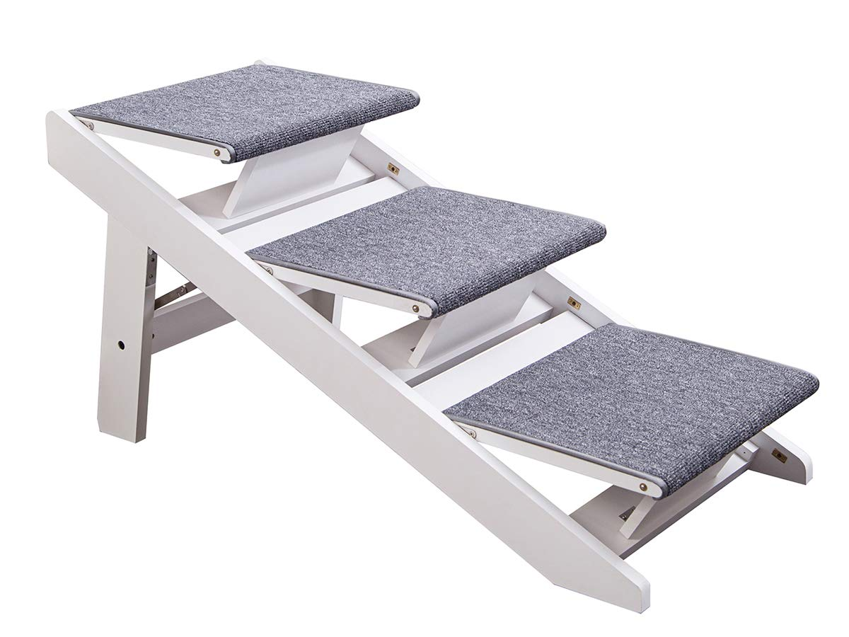 PAWLAND 2-in-1 Portable Folding Pet Stairs for Dogs, Cats, high beds, Wood Pet Safety Beside Dog Ramp, Dog Steps, Easy Climb Pet Step Stool (White)