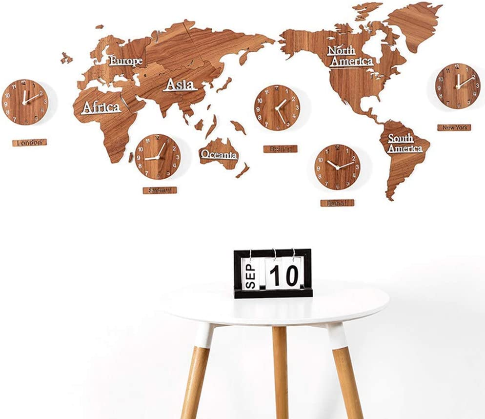 3D Wood World Map Modeling Mute Wall Clock、Creative Wall Clock Personality Fashion Wall Map Atmospheric Clock World Map Clock、Home Decoration Wall Clock、L220CM * H120CM、A