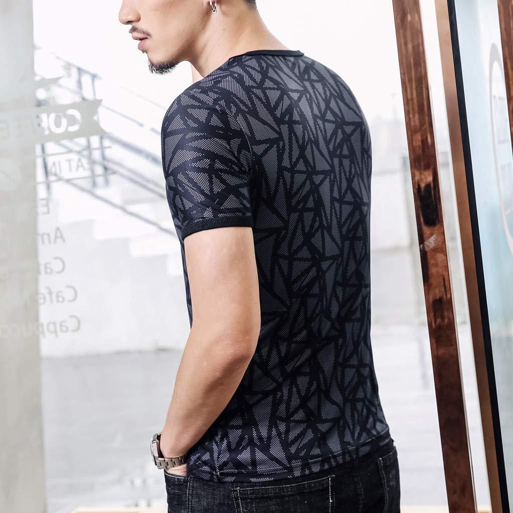 Giulot Mens Classic Regular-Fit Quick-Dry Sports Shirt Crew Neck Bodybuilding Gym Short Sleeve T-Shirt