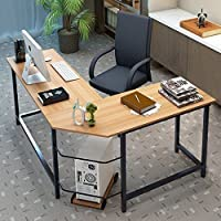 Edxtech L-Shaped Computer Desk Home Office Furniture Corner Student Laptop PC Wood Color