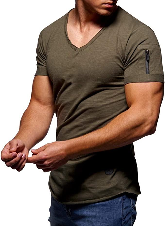 Amazon Com Men S Fashion Casual Summer Short Sleeve V Neck With Pocket Big And Tall Slim Fit Tops T Shirt Clothing