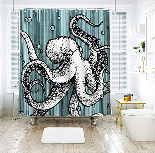 Livilan Octopus Shower Curtain Set 72'' x 72'' Decorative Mildew Resistant Waterproof Polyester Fabric Bathroom Curtain,Blue by Livilan