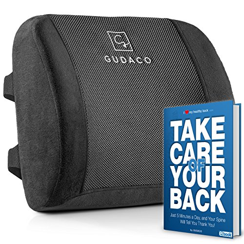 Gudaco Luxury Lumbar Cushion Memory Foam – Orthopedic Pillow for Lower Back Pain, Sciatica, Arthritis – Lumbar Support Pillow for Car, Home & Office Chairs – Ergonomic Design with 2 Adjustable Straps