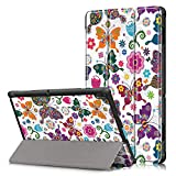 Shinyzone Slim Case for Lenovo Tab E10 10.1 inch Tablet TB-X104F,Trifold Stand Smart Cover,Auto Sleep/Wake Function,TPU Bumper Reinforced Corner Protective Case,Butterfly