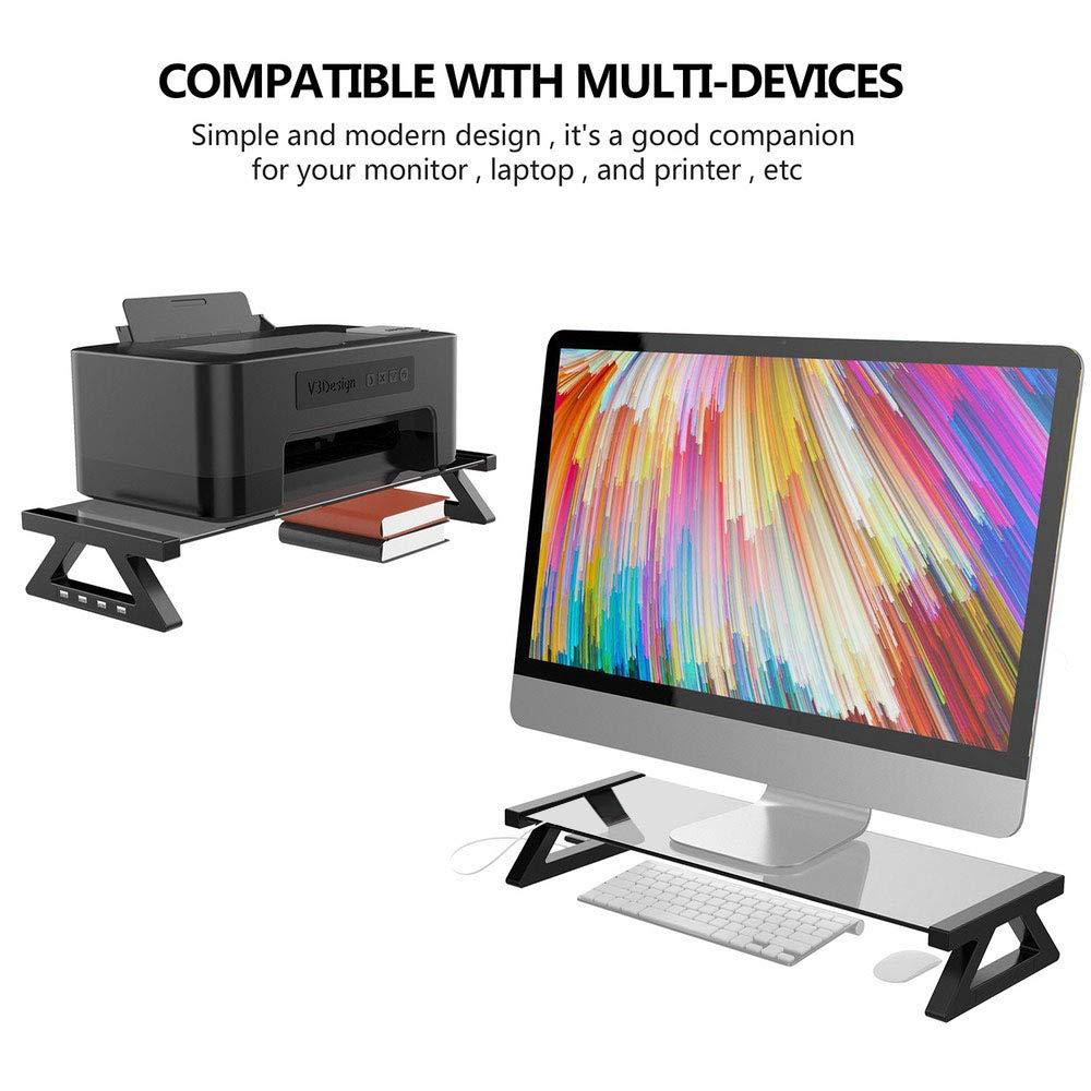 ラックシェルフシェルフディスプレイスクリーン 高さアップシェルフ LCDスクリーンブラケットベース オフィスデスクトップホルダー (カラー:ダークグレー)   B07P825GFC