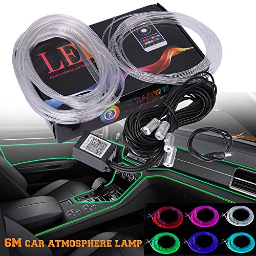 (RGB LED Car Interior Neon EL Strip Light Sound Active Bluetooth Phone Control 6M (Fit IOS and Android))