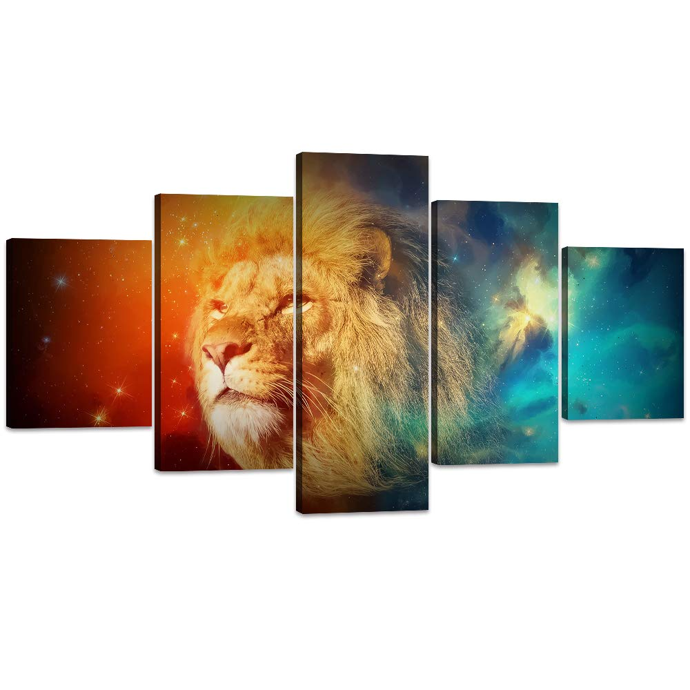 Artwork-12 60''W x 32''H Yatsen Bridge Framed Lion Pictures Wall Decor Modern 5 Panels White Black Lions Canvas Wall Art Easy to Hang Animal Posters for Living Room Bedroom Decor - 60''W x 32''H