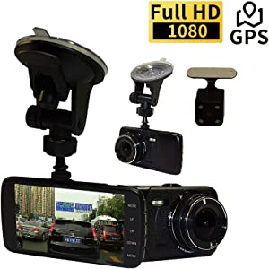 """WPTECH 4"""" IPS FHD 1296P Car Dash Cam with GPS Logger, F2.0 Big Eye 6-G Lens Front and Rear Camera Car DVR, 160 Degree Wide Angle, G-Sensor, Loop Recording, LDWS, FCWS, and 16GB Micro SD Card Included"""