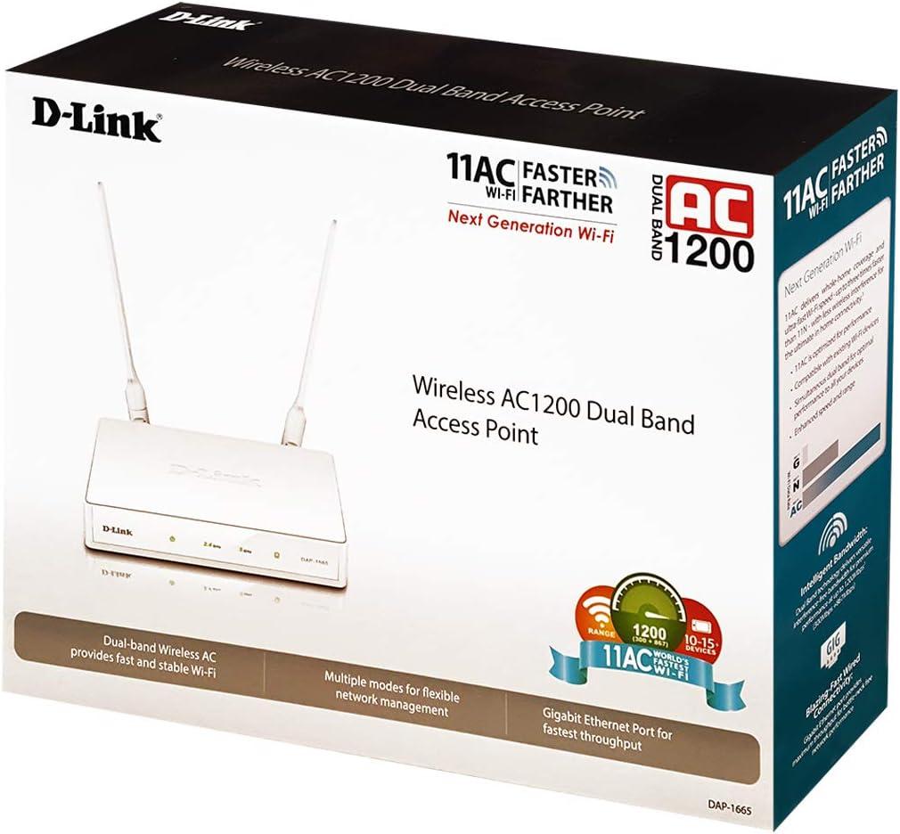Repetidor//Amplificador Extensor de Red WiFi AC1200 Blanco D-Link DAP-1665 1 Puerto LAN Gigabit 10//100//1000 Mbps, 2 Antenas externas extra/íbles, Punto de Acceso WiFi, 802.11ac//b//g//n//a, WPA2, WPS