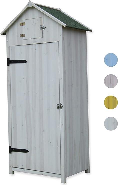 Woodside - Garita de madera estilo caseta de playa para exteriores, armario de almacenamiento, cobertizo para herramientas para el jardín., blanco: Amazon.es: Jardín