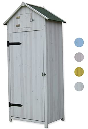 Woodside White Wooden Sentry Box Outdoor Garden Storage Cupboard Tool Shed