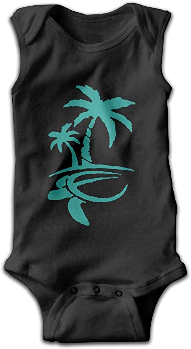 Baby Infant Toddler Bodysuits Hawaiian Palm Tree and Sea Turtle Cotton Long Sleeve Romper Suit