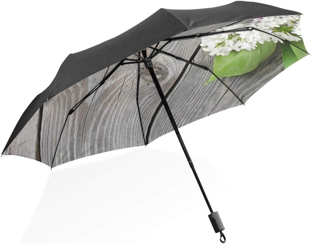 Paraguas Hermoso Lila Sobre Superficie De Madera 3 Pliegues Ligero Anti-UV