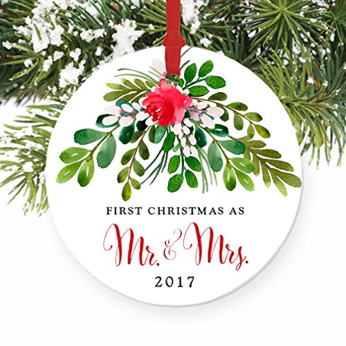 Mr  Mrs Ornament 2017, First Christmas as Mr  Mrs, 1st Married Christmas Porcelain Ornament, 3 Flat Circle Christmas Ornament w Glossy Glaze, Red R…
