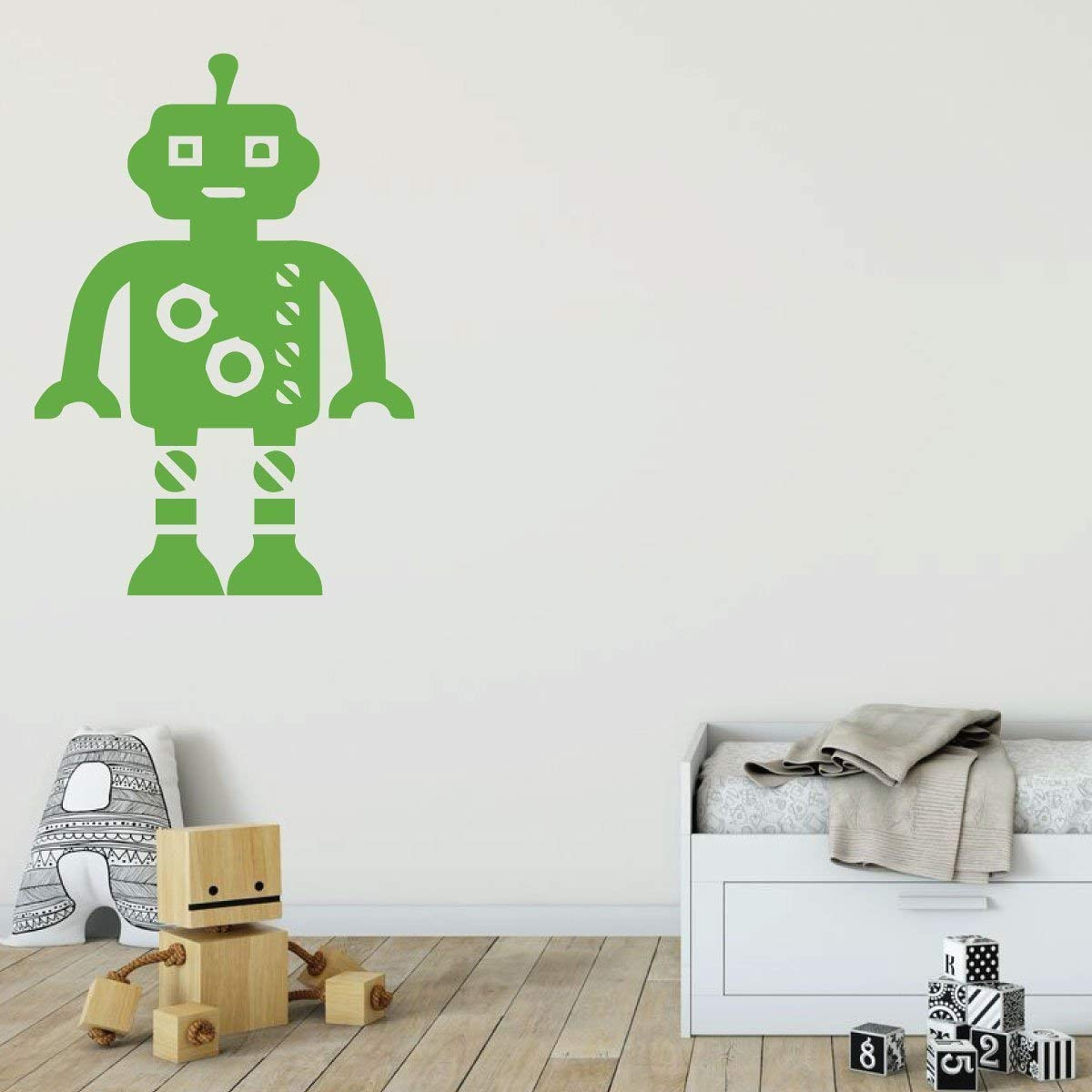 Custom name robot wall decal for boy or girl personalized vinyl bedroom playroom decor for children black white blue purple pink other colors