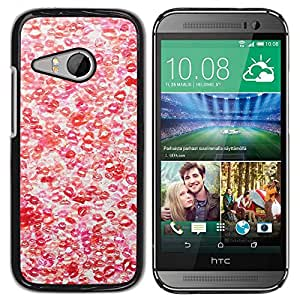 Paccase / SLIM PC / Aliminium Casa Carcasa Funda Case Cover para - Hot Love Red White Pattern - HTC ONE MINI 2 / M8 MINI