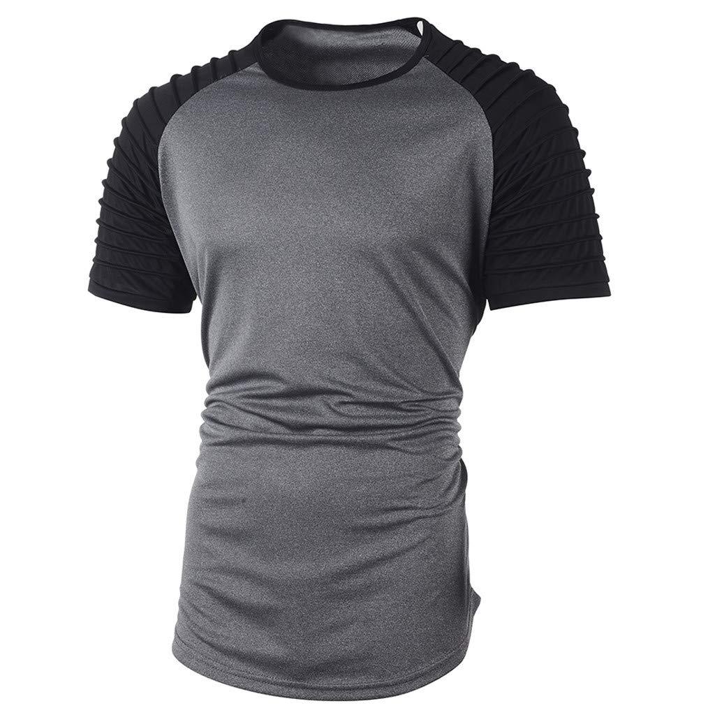 SFE Fashion Shirts,Mens Summer Pleats Slim Fit Raglan Patchwork Short Sleeve Pattern Top Blouse