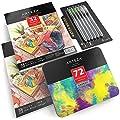 Arteza Bundle, Set of 72 Arteza Watercolor Pencils, 2 Watercolor Pads and Pack of 6 Water Brush Pens