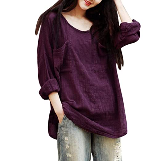 0038931b52284 Image Unavailable. Image not available for. Color  Syban Womens Cotton  Linen Thin Section Loose Long-Sleeved Blouse T-Shirt Pullover