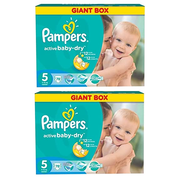 PAMPERS Pañales Active Baby Dry Junior Talla 5 11 - 18 kg hasta 468 STK monats Box Talla:Junior 1x78 Stk: Amazon.es: Bebé