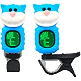 Guitar Tuner Clip-On Cartoon Cat with LCD Display for All Instruments with Bass, Ukulele,Violin Accessories-Blue,T-06