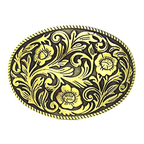 MASOP Western Engraved Flower Oval Belt Buckle Cowgirl Cowboy Rodeo Belt Buckles - Western Oval Belt Buckle