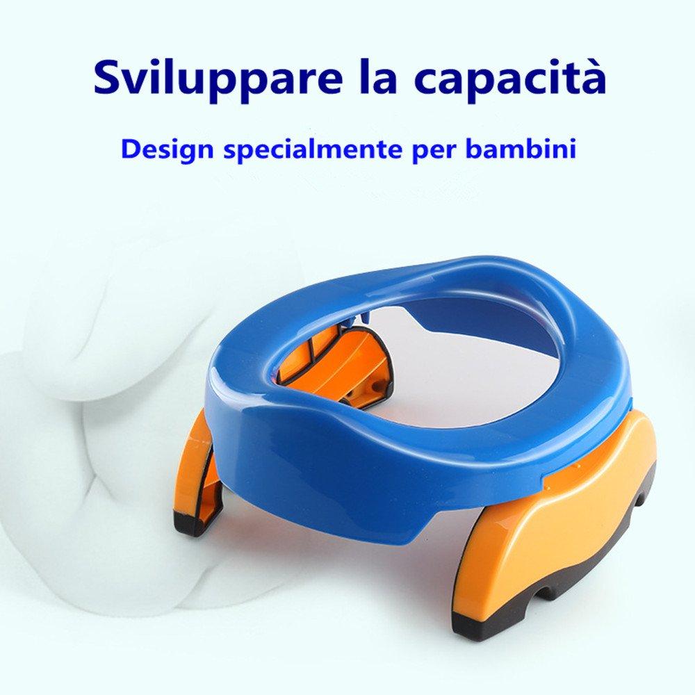 Colleer Riduttore WC per Bambini Water Pieghevole Portabile Vasino da Viaggio Blu