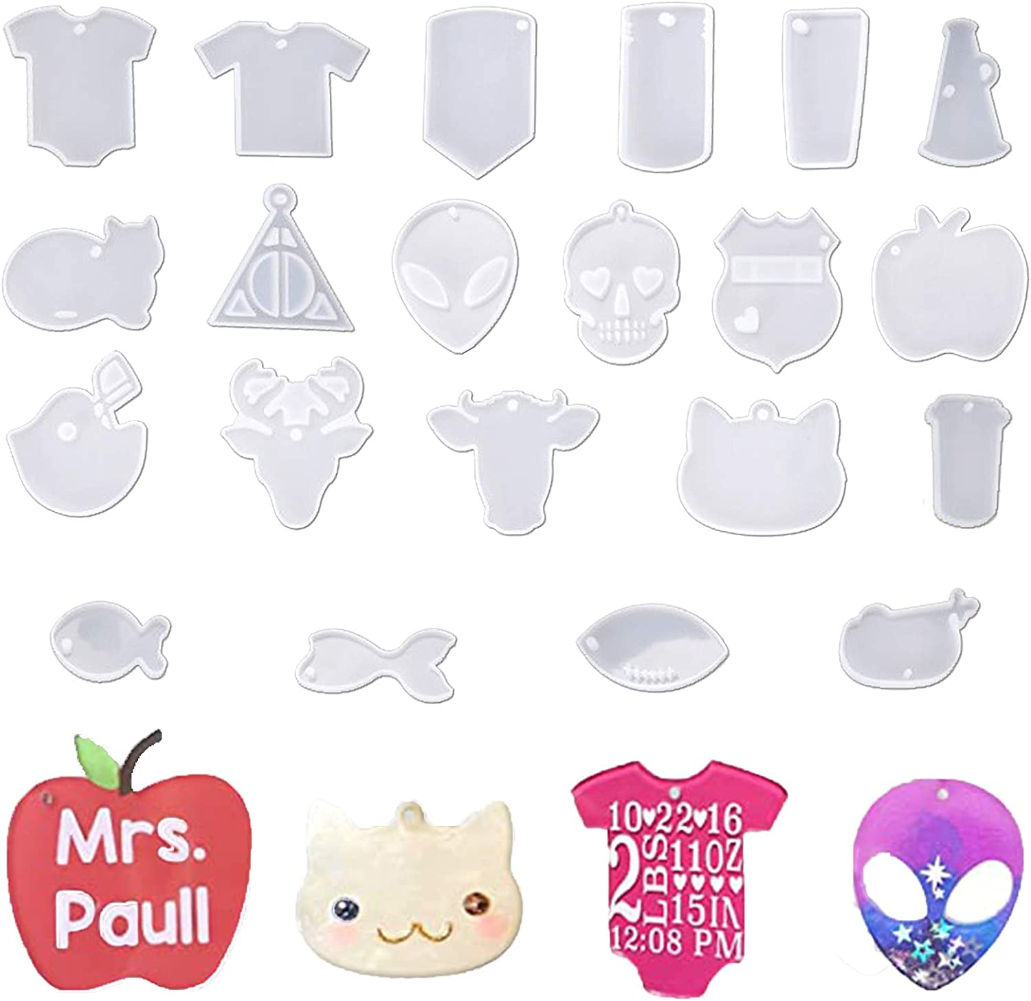 FatCat Wall Graphics 21 Pcs Keychain Silicone Molds with Hole,for DIY Geometry Pendants Set DIY Alien Camper Cat T-Shirt Football Apple Skull Baby Police Badge Cattle Football for Men and Women