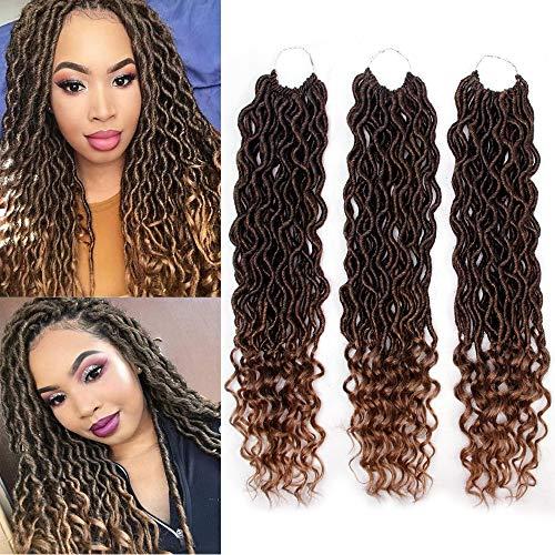 Crochet Hair Wavy Curly Faux Locs Crochet Braids Synthetic Hair Extensions Dreadlocks Crochet Locs Low Temperature Braiding Hair (20