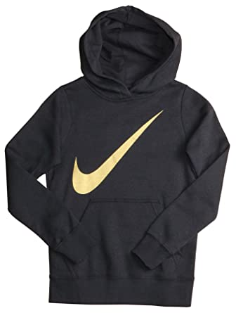 87be0eeb2a6c9d Amazon.com: NIKE Swoosh Youth Girls Black & Gold Hoodie Sweatshirt ...