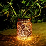 Voona 2-Pack Solar Bronze Mercury Glass Jar Outdoor Lights for Hanging and Ground Use Pathway Table Garden Decoration