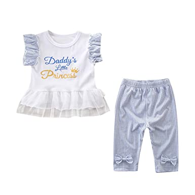 817e2bb572cb DDLmax Daddy s Little Princess Kids Baby Girls Short Sleeve Letter T-Shirt  Tops+Pants Set