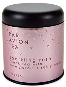 Par Avion Tea , Glitter Tea - Sparkling Rosé Blend - Small Batch Loose Leaf Black Tea With Rose Petals and Silver Sugar Crystals - 2 oz