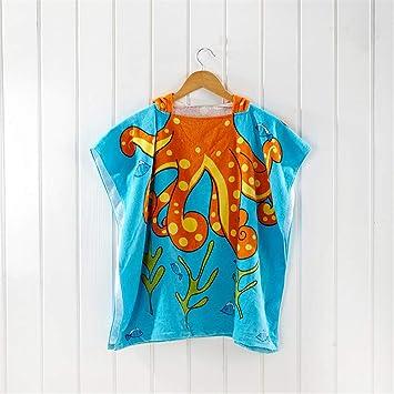 FIFY Albornoz Infantil Algodón con Estampado de Dibujos Animados Capa de baño para niños Capa de baño Capa de bebé Toalla de Playa Algodón Albornoz, B: ...