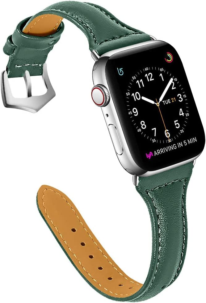 OULUCCI Leather Bands Compatible with Apple Watch 38mm 40mm, Top Grain Leather Band Slim & Comfortable Wristband for iWatch Series 6/SE & Series 5/4/3/2/1