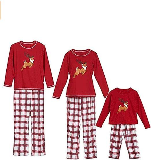 Sykooria Pijamas De Navidad Familia Conjunto Algod/ón Ropa de Dormir para Hombres Mujeres Ni/ños Ni/ña Pijama 2 Piezas Pantal/ón Raya y Top de Manga Larga