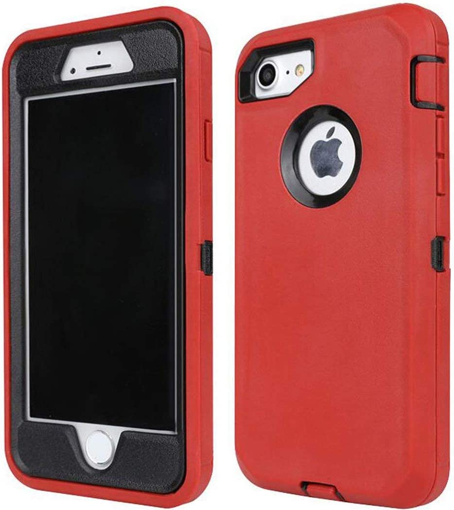 Annymall Case for iPhone 8 / iPhone 7, [Heavy Duty] with Built-in Screen Protector Tough 4 in1 Rugged Shorkproof Cover for Apple iPhone 7 & iPhone 8 (Red/Black)