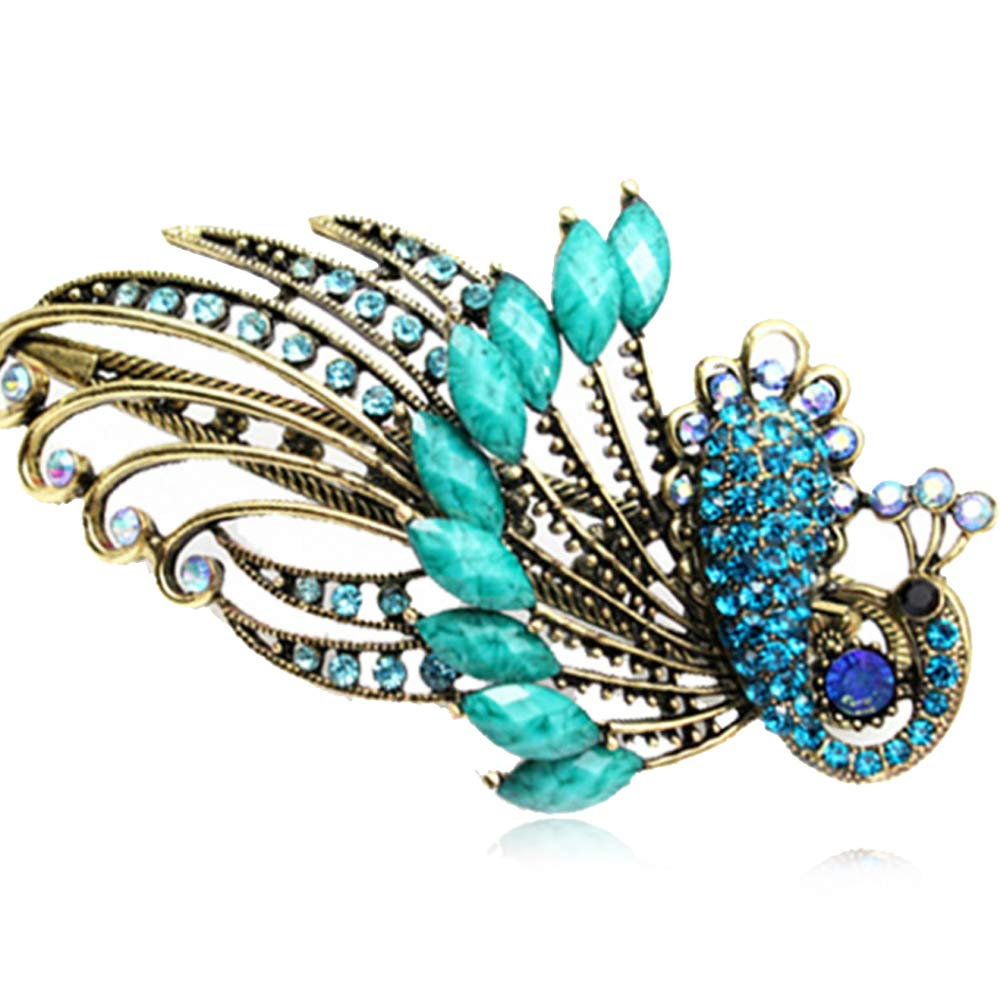 Rrunzfon Women's Vintage Crystal Peacock Hair Clip Retro Style Head Wear Accessory for Hair Beauty