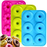 Silicone Donuts Baking Pan Set of 3, Non-Stick Round and Flower Donut Molds, Durable Kitchen Accessories for Cake…