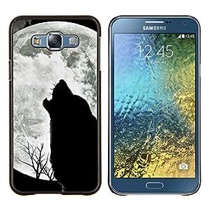 Caucho caso de Shell duro de la cubierta de accesorios de protección BY RAYDREAMMM - Samsung Galaxy E7 E700 - Lobo Acarreo Luna salvaje árboles Naturaleza Animal