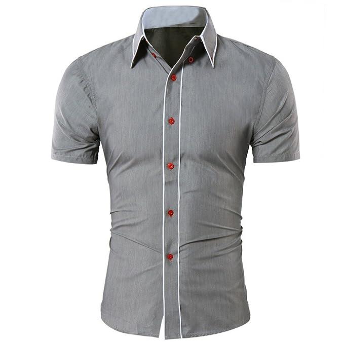 f88a7c6f328a Herren Hemd Klassisches Sommer Revers Kurzarm Hemden T Shirt Einfarbige  Freizeithemd Zhen+ Männer Regular Fit Baumwolle Shirt Bluse Slim Fit  Kurzarmhemd für ...