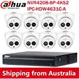 Dahua 8CH 6MP PoE Home Security Camera System, 6MP Outdoor PoE IP Cameras with Build in MIC, 4K 8-Channel NVR (NVR4208-8P-4KS2+IPC-HDW4631C-A 2.8MM(8PCS))