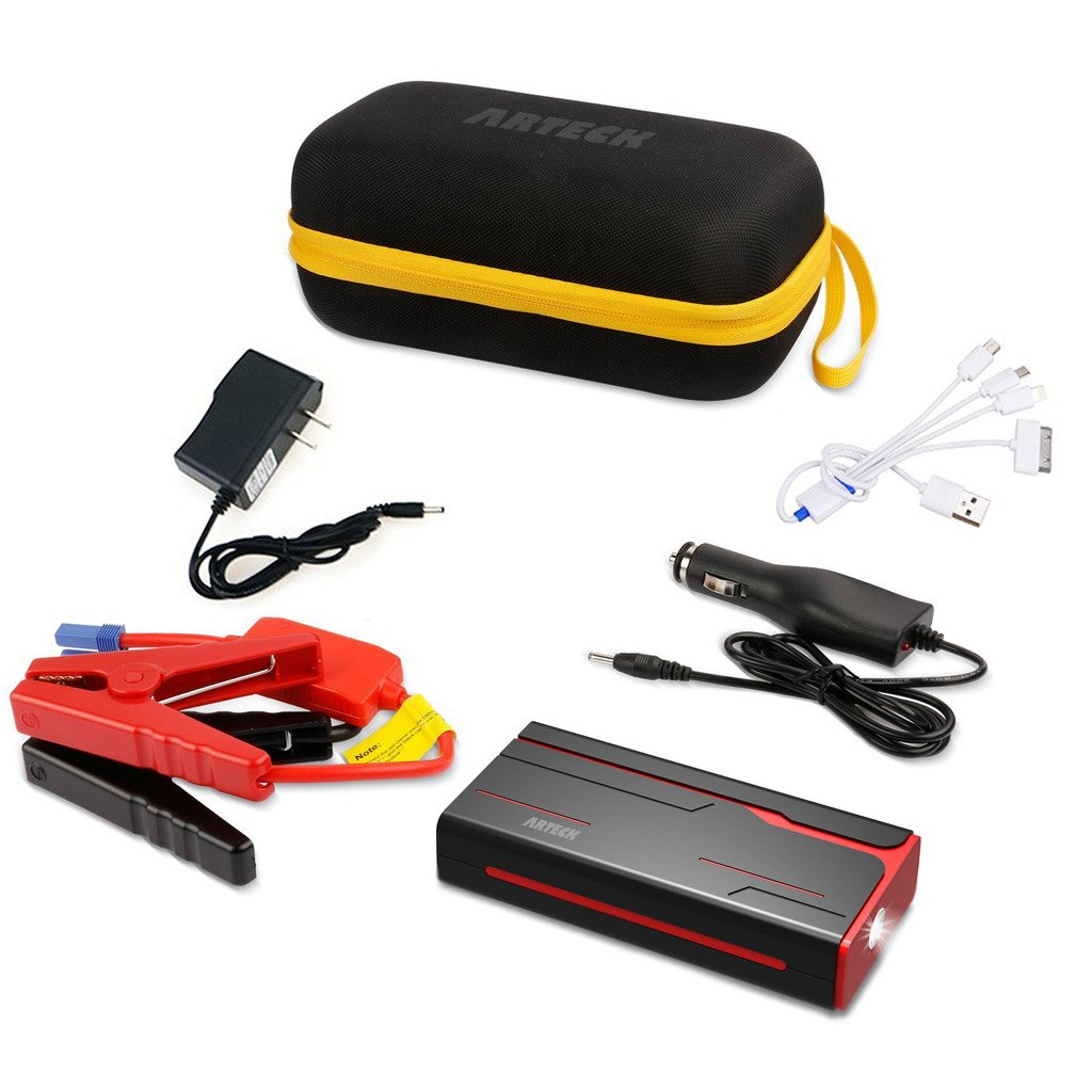Arteck 600A Peak Car Jump Starter (Up to 7.0L Gas or 6.5L Diesel) Auto Battery Booster and 18000mAh Portable External Battery Charger for Automotive, Boat, Phone with Adaptors, 12V Jump Leads, LED by Arteck (Image #6)