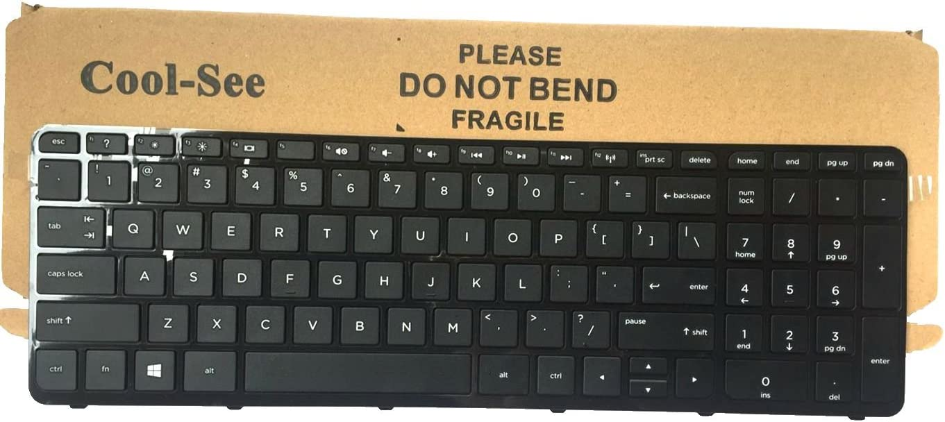 Cool-See US Laptop Keyboard with Frame for HP Pavilion 15E 15N 15T 15-N 15-E 15-E000 15-N000 15-N100 15T-E000 15T-N100 15-e087sr 708168-001 710248-001 749658-001 719853-001 9Z.N9HSQ.001