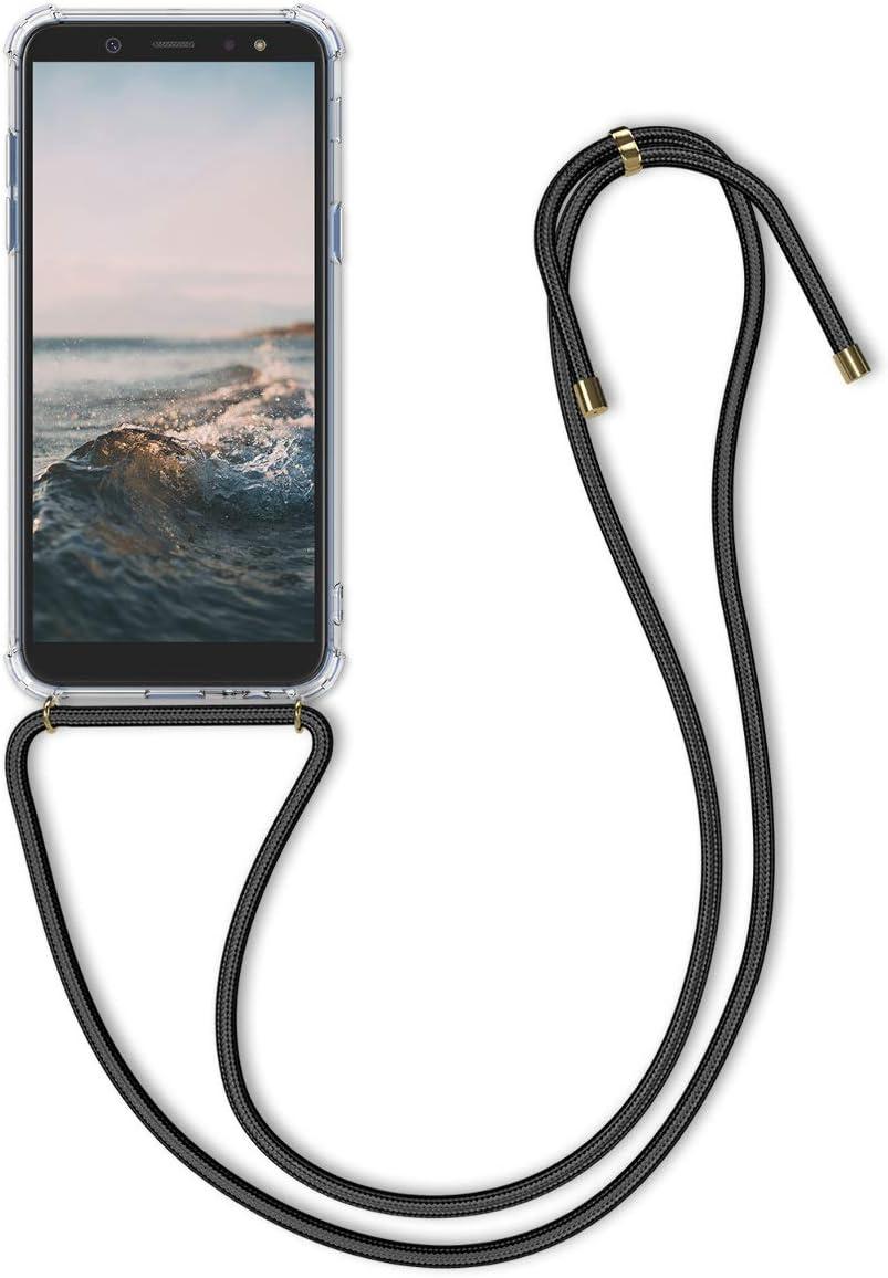BestST Funda con Cuerda Compatible con Samsung Galaxy A6 2018 con Correa Colgante Carcasa Cuerda y Esquinas Reforzadas en Silicona TPU con Cordon para Llevar en el Cuello,Gris Cemento