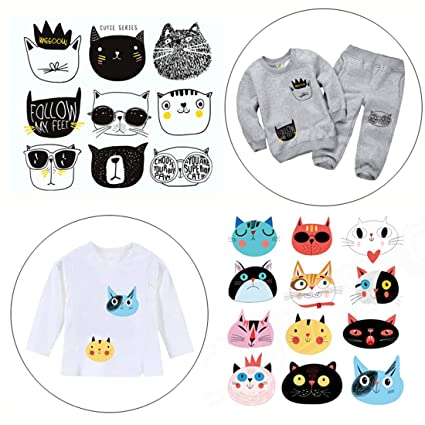 3185d456e9f0 FineInno 2 Packs DIY Iron-on Transfers Cute Cat Animal Patches Appliques  Vinyl Washable Sticker Decals Heat Thermal Transfers Printed Decor ...