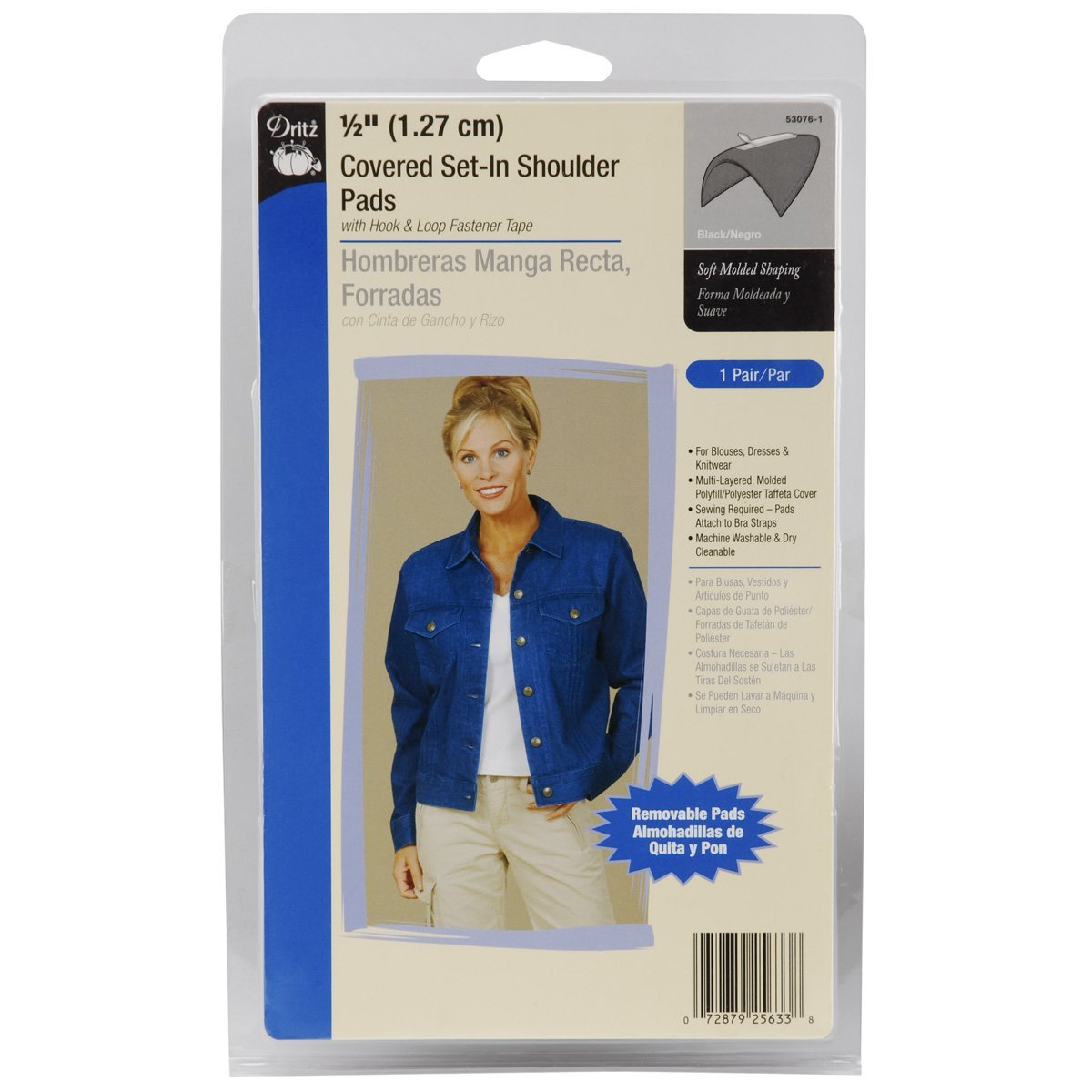 Dritz 1//2-Inch Covered Set-In with Hook and Loop Tape Shoulder Pads-Black 2-Package