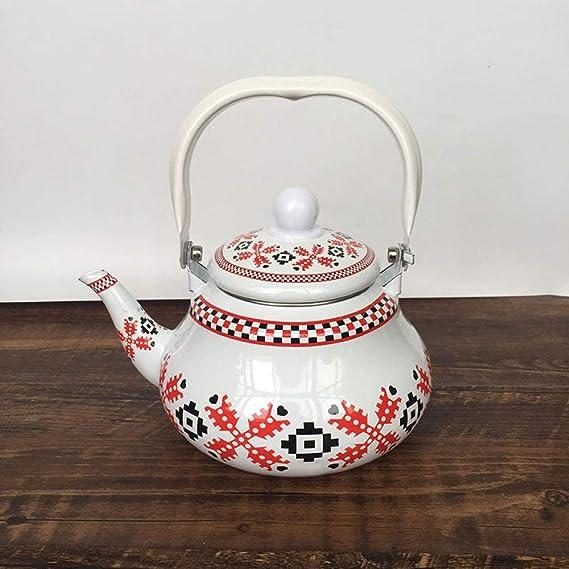 Enamel Teapot Black and White Checkered